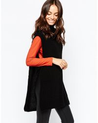 Daisy Street | Black Roll Neck Tunic With Side Splits | Lyst