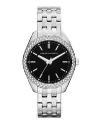 Armani Exchange | Metallic Crystal Bezel Bracelet Watch | Lyst