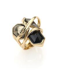Alexis Bittar | Black Miss Havisham Liquid Pyrite & Crystal Three-Stone Ring | Lyst
