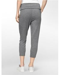 Calvin Klein - Gray Performance Pleated Soft Crop Joggers - Lyst