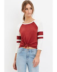 Forever 21 | Brown Varsity-striped Baseball Tee | Lyst