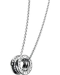 BVLGARI | Metallic B.zero1 18ct White-gold And Diamond Pendant | Lyst