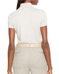 Lauren by Ralph Lauren | Gray Petite Short Sleeve Mockneck Top | Lyst