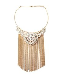 Forever 21 | Metallic Fringe Collar Statement Necklace | Lyst
