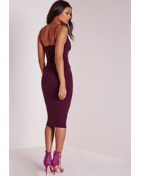 Missguided - Scuba Strappy Cut Out Midi Dress Purple - Lyst