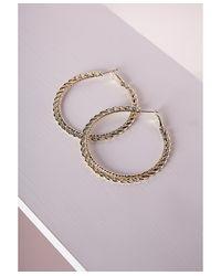 Missguided | Metallic Thin Chain Hoop Earrings Gold | Lyst