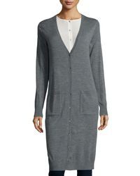 Eileen Fisher | Gray Ultrafine Merino Long Cardigan | Lyst