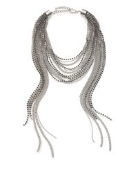 ABS By Allen Schwartz | Metallic Beaded Multi-row Chain Necklace | Lyst