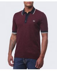 Fred Perry - Red Yarn Knit Tipped Polo Shirt for Men - Lyst