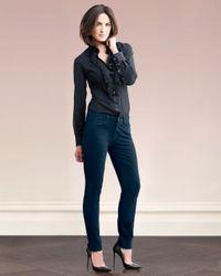 Jen7 - Green Sateen-twill Skinny Jeans - Lyst