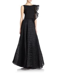 MILLY - Black Organza-Ruffle Cropped Top - Lyst