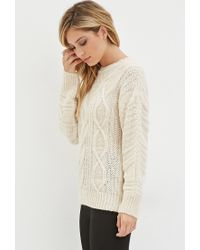 Forever 21 - White Classic Cable Knit Sweater You've Been Added To The Waitlist - Lyst