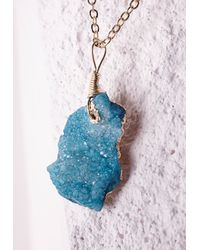 Missguided | Blue Semi-precious Stone Pendant Necklace Turquoise | Lyst