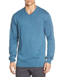Volcom | Blue 'upstand' Slim Fit V-neck Sweater for Men | Lyst