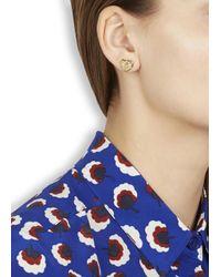 Marc By Marc Jacobs | Metallic Gold Tone Heart Stud Earrings | Lyst