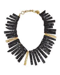 Ashley Pittman | Black Fimbo Dark Horn & Bronze Collar Necklace | Lyst