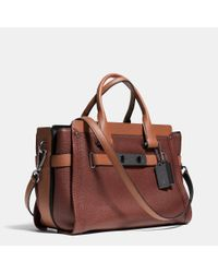 COACH - Brown Swagger Carryall In Colorblock Leather - Lyst