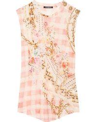 Balmain | Pink Printed Linenjersey Top | Lyst