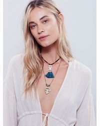 Free People - Blue Womens Threaded Tassel Short Necklace - Lyst
