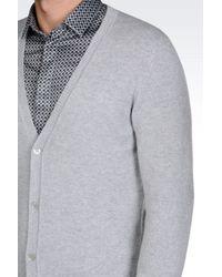 Emporio Armani - Gray Cashmere Cardigan for Men - Lyst