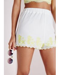 Missguided - Embroidered Hem High Waisted Shorts White/lime - Lyst