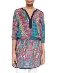 Tolani - Blue Patricia Printed Long Tunic - Lyst