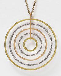 "Michael Kors - Metallic Tri Tone Disc Pendant Necklace, 30"" - Lyst"