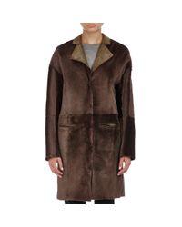 Nina Ricci - Brown Shearling Coat - Lyst