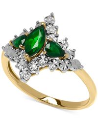 Macy's | Green Emerald (5/8 Ct. T.w.) And Diamond Accent Lady Diana Ring In 10k Gold | Lyst