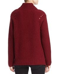 Lord & Taylor | Red Mock Turtleneck Sweater | Lyst