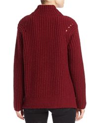 Lord & Taylor - Red Mock Turtleneck Sweater - Lyst