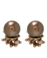 Ruth Tomlinson | Metallic Gold Black Pearl Encrusted Stud Earrings | Lyst