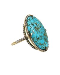 Sylva & Cie | Blue Kingman Turquoise Diamond Ring | Lyst