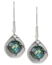 Robert Lee Morris | Metallic Silver-tone Abalone Bead Sculptural Long Drop Earrings | Lyst