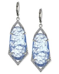 Vince Camuto - Blue Silver-tone Crackle Stone Drop Earrings - Lyst