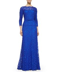 Tadashi Shoji | Blue 3/4-Sleeve Lace Belted-Waist Gown | Lyst