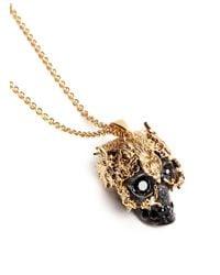 Alexander McQueen | Metallic Owl Skull Strass Rock Crystal Necklace | Lyst