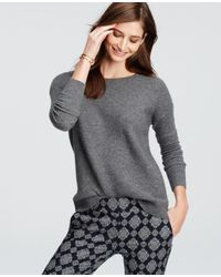 Ann Taylor   Gray Petite Textured Cashmere Sweater   Lyst