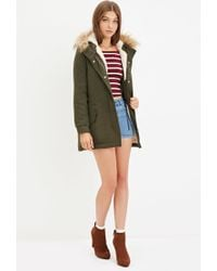 Forever 21 - Green Plush Faux Fur Hood Coat - Lyst