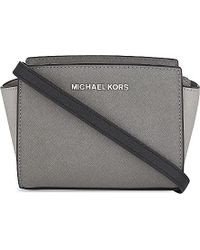 MICHAEL Michael Kors | Gray Selma Mini Saffiano Leather Messenger Bag | Lyst