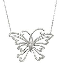 Lord & Taylor | 14kt. White Gold And Diamond Butterfly Necklace | Lyst