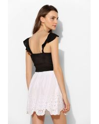 Love Sam - White Eyelet Scallophem Skirt - Lyst
