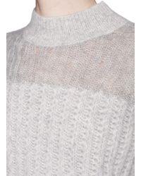 3.1 Phillip Lim - Gray Mixed Knit Mohair-alpaca Blend Sweater - Lyst