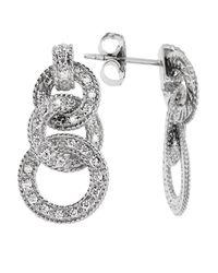 Charriol | Metallic Women's Cignature 18k White Gold Diamond Loop Earrings | Lyst