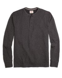 Brooks Brothers - Black Long-sleeve Thin Stripe Henley for Men - Lyst