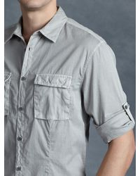 John Varvatos - Gray Cotton Utility Shirt for Men - Lyst
