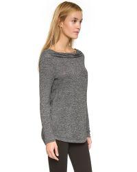Splendid | Gray Marble Jersey Drape Neck Top | Lyst