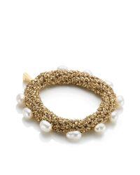 Lucy Folk | Metallic Golden Sun Crochet Pearly Bracelet | Lyst
