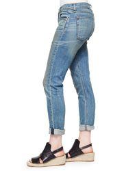 Rag & Bone - Blue The Dre Boyfriend Cropped Low-Rise Stretch-Denim Jeans - Lyst