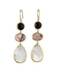 Margaret Elizabeth | Metallic 3 Stone Drop Earrings, Black Onyx, Pink Opal, Moonstone | Lyst